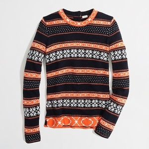 J. CREW • Warmspun Stripe Fair Isle Sweater Small